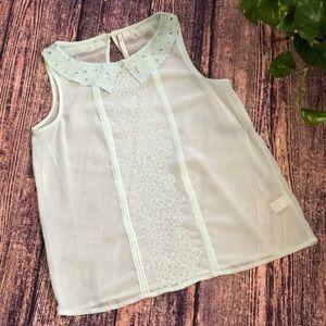 ☘️Lauren Conrad Sheer Mint Sleeveless Blouse ☘️